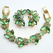 1960s Juliana DeLizza + Elster Green Rhinestone Bracelet Earrings