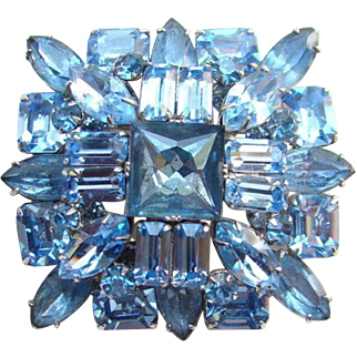 Vintage Sapphire Blue Rhinestone Brooch Pin Brilliant High Quality Possibly Schreiner