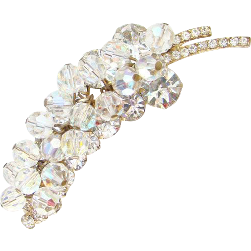 Vintage Juliana DeLizza + Elster Clear Bead Leaf Brooch Sparkling