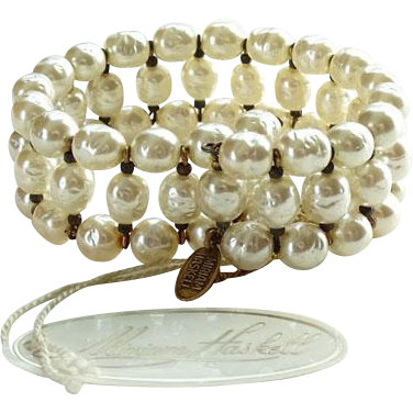 Vintage Miriam Haskell Baroque Pearl Coil Wrap Bracelet with Tags Signed