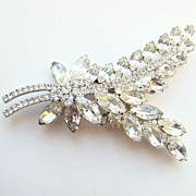 C1960 Juliana DeLizza + Elster Clear Ice Rhinestone Leaf Brooch Stylized