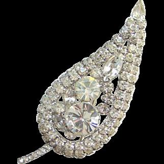 C1960 Juliana DeLizza + Elster Clear Ice Rhinestone Leaf Brooch Stylized
