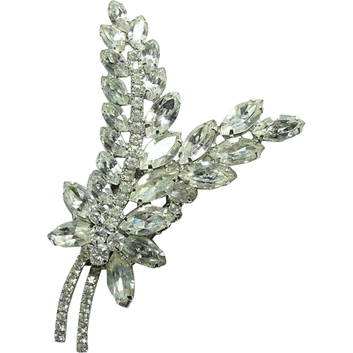 C1960 Large Juliana DeLizza and  Elster Clear Ice Rhinestone Two Leaf Brooch Stylized