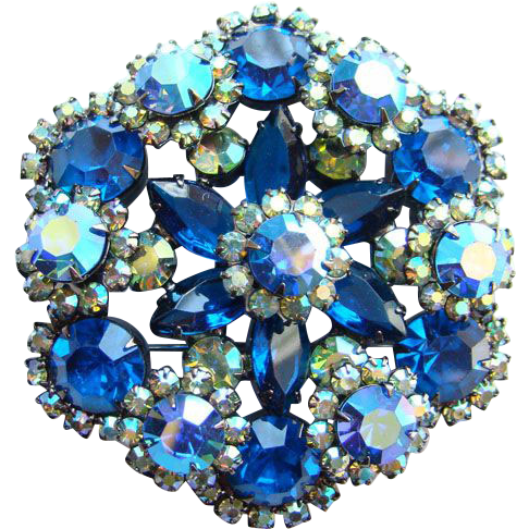 Juliana DeLizza & Elster Snowflake Pin Brooch Bermuda Blue Rhinestone Book Piece