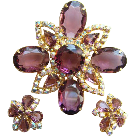 Vintage Designer Amethyst Rhinestone Large Floral Brooch Earrings Aurora Borealis Unsigned Beauty