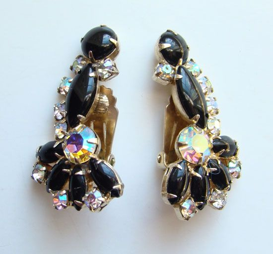 Vintage Black Cabochon Rhinestone AB Climber Earrings Unsigned