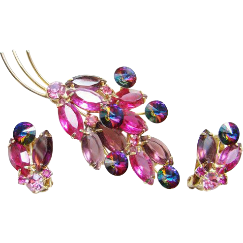 Vintage Fuchsia Lavender Rivoli Rhinestone Brooch Earrings Set