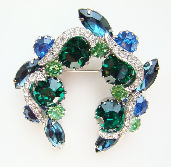 Stunning Vintage Emerald Green Sapphire Blue Rhinestone Brooch