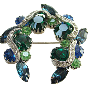 Vintage Emerald Green and Sapphire Blue Rhinestone Brooch With Clear Pave Ribbons