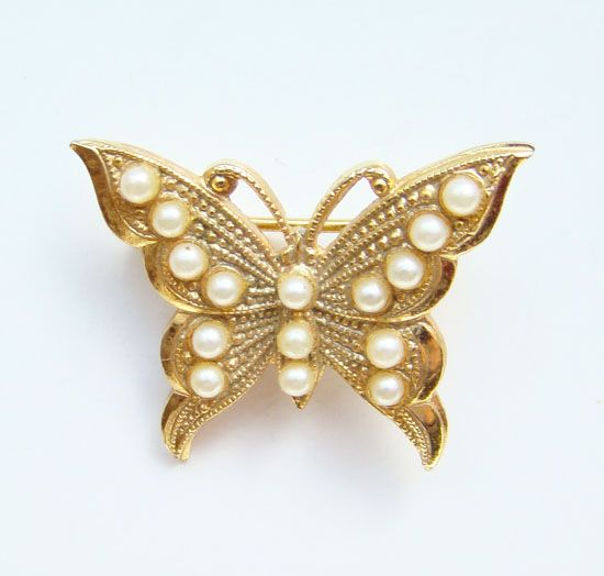 Vintage Miriam Haskell Figural Butterfly Pin Simulated Pearls Small