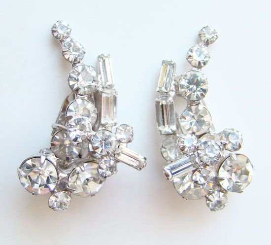 Vintage Pair Dress Clips Clear Rhinestone Gorgeous