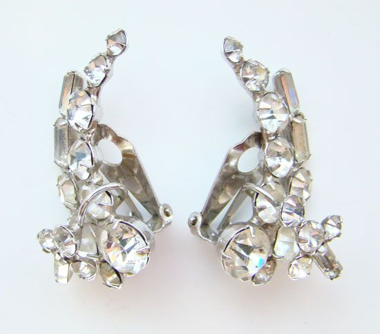 Vinatge Climber Clip Earrings Clear Rhinestone Gorgeous