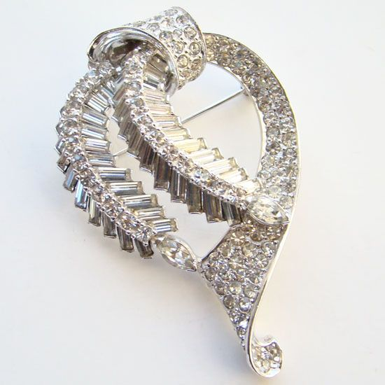 Vintage Pennino White Rhinestone Baguette Brooch Rhodium Plated Signed
