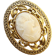 Vintage Florenza Cameo Brooch Pin Carved Shell Gold Tone Signed