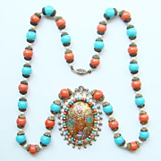 Vintage Pendant Necklace Oversized Turquoise Coral Gold Stippled Cabochon Gorgeous