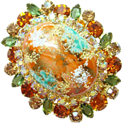 Juliana DeLizza & Elster Rhinestone Brooch Coral Gold Cabochon Book Piece