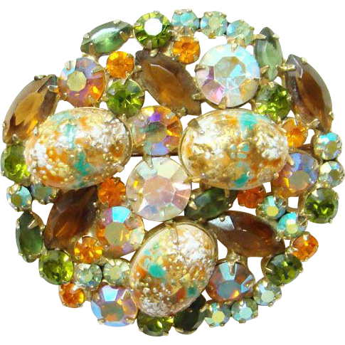 Juliana DeLizza & Elster Rhinestone Easter Egg Brooch Coral Gold Cabochon