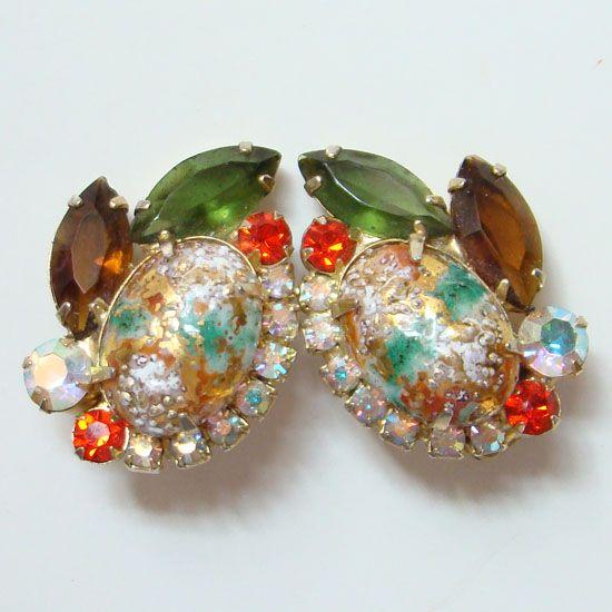 Juliana DeLizza & Elster Rhinestone Earrings Coral Gold Stippled Cabochon Book