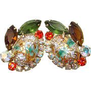 Juliana DeLizza & Elster Rhinestone Clip Earrings Coral Gold Stippled Cabochon Book Piece
