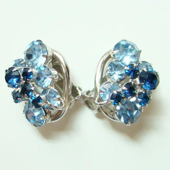 Juliana DeLizza & Elster Blue Rhinestone Earrings Oval Link Book Piece