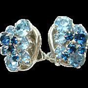 Juliana DeLizza & Elster Blue Rhinestone Earrings Oval Link Book Piece