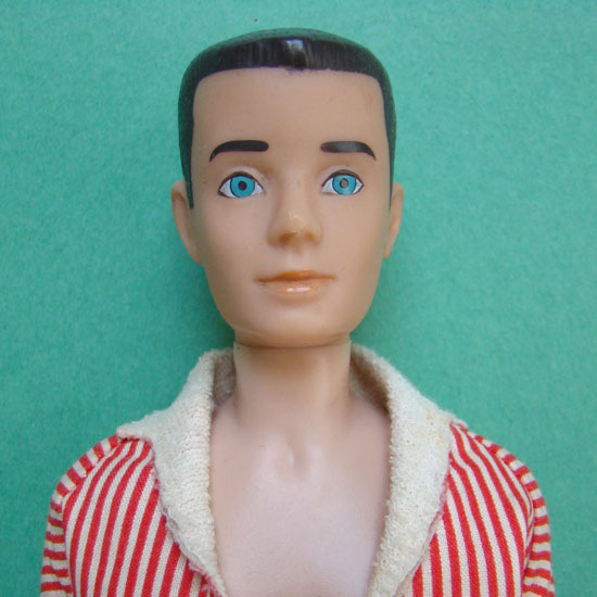 1962 Barbie Ken Doll Painted Hair Brunette in Original Box with In Training Shorts