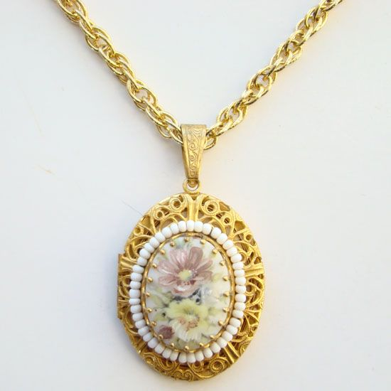 Vintage miriam haskell locket pendant necklace painted flowers gold vintage miriam haskell locket pendant necklace painted flowers gold sold ruby lane mozeypictures Gallery