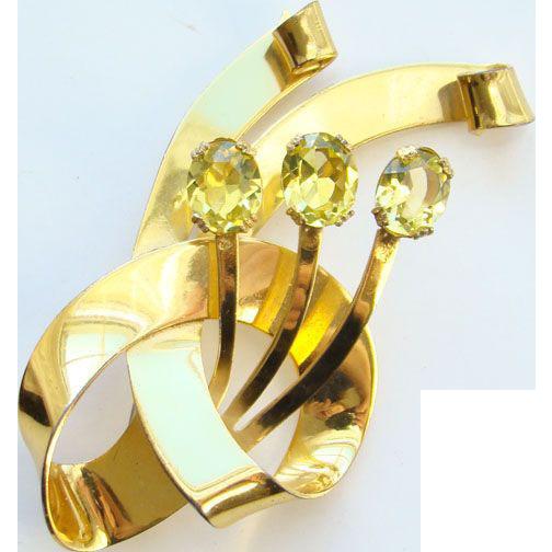 Vintage Coro Craft Floral Brooch Sterling Silver Vermeil Citrine Rhinestones Signed C1940s