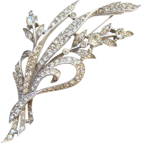 1941 Trifari Rhinestone Floral Brooch Alfred Spaney Rhodium Book Piece Pat 129319