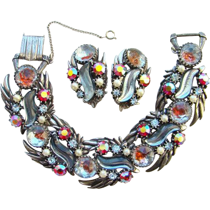 Rare 1950-60 Florenza Rhinestone Link Bracelet Earrings Set S Shape Cabochon Signed