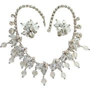 Juliana DeLizza & Elster Clear Rhinestone Crystal Bead Cascade Necklace Earrings Book Piece