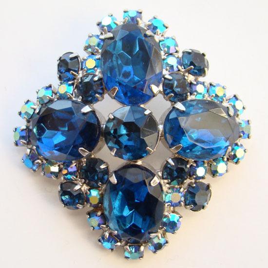 Vintage Dark Sapphire Bermuda Blue Rhinestone Brooch with Aurora Borealis