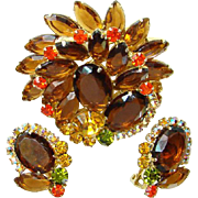 Juliana DeLizza & Elster Brooch Pin Earrings Rhinestone Topaz Amber