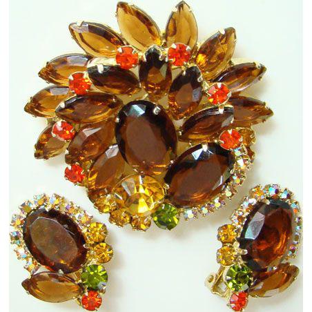 Juliana DeLizza & Elster Brooch Pin Earrings Rhinestone Topaz Amber