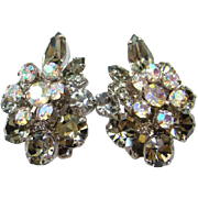 Juliana DeLizza & Elster Earrings Smoke Aurora Borealis Rhinestone Clip