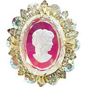 Juliana DeLizza & Elster Intaglio Cameo Pendant Brooch Pin Book Piece