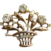 1948 Crown Trifari Figural Brooch Rhinestone Basket of Flowers Book Piece