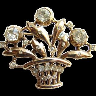 1948 Crown Trifari Figural Brooch Rhinestone Basket of Flowers Book Piece