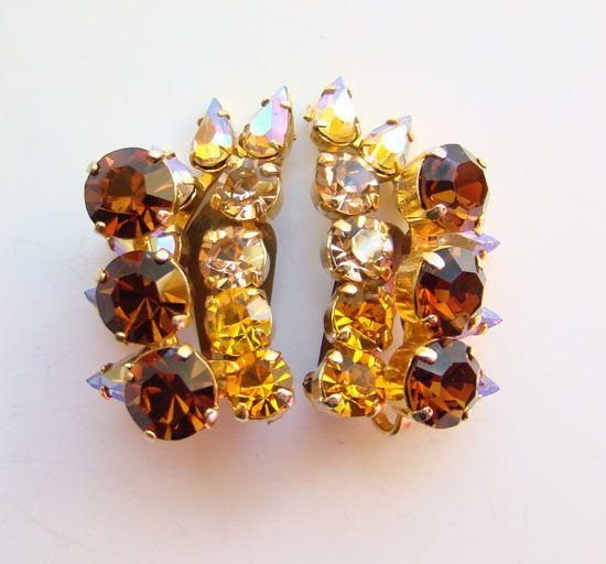 Vintage Dazzling Earrings Amber Topaz Rhinestone Clip