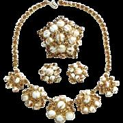 Juliana DeLizza & Elster Chalk White Gold Fluss Rhinestone Set Brooch Earrings Necklace