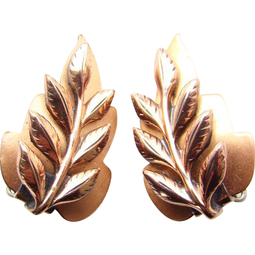 Vintage Renoir Copper Stylized Leaf Clip Earrings Signed