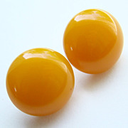 Vintage Butterscotch Bakelite Screw Back Button Earrings
