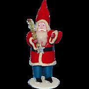 Antique Japan Christmas Santa Claus St Nicholas Felt White Brush Tree 5in