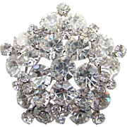 Juliana DeLizza & Elster Brooch Pin Clear Rhinestone Tiered Five Side Snowflake