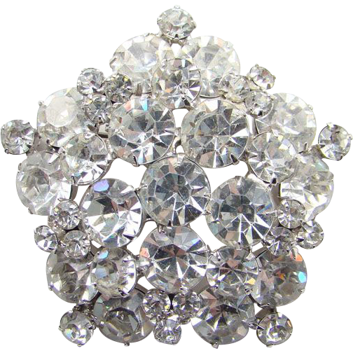 Juliana DeLizza & Elster Brooch Pin Clear Rhinestone Tiered Five Side Snowflake