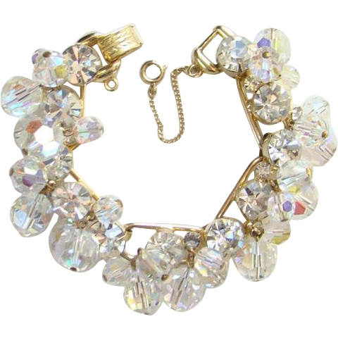 Juliana DeLizza Elster Aurora Borealis Bead Dangle Rhinestone Bracelet 5 Link Gold Tone
