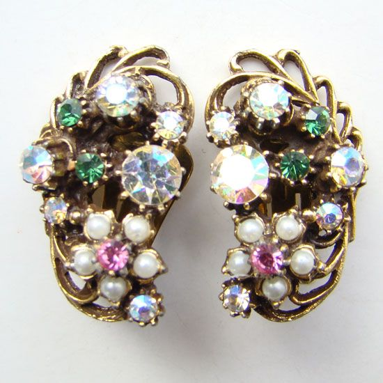 Vintage Florenza Climber Clip Earrings Pink Rhinestone Faux Pearl Book Piece