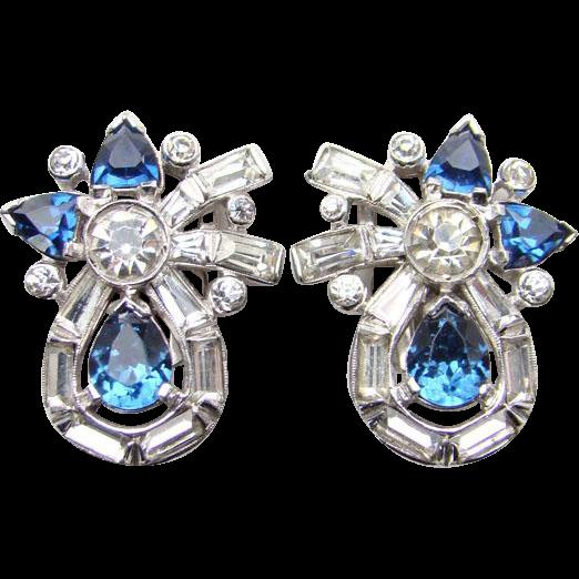 Vintage Mazer Brothers Jomaz Clip Earrings Sapphire Blue Rhinestone Rhodium Signed