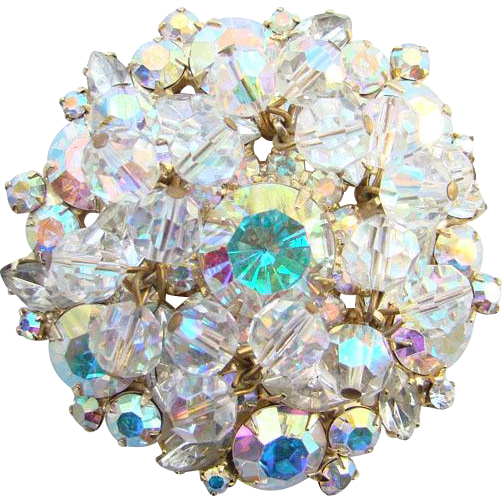 1960s Juliana DeLizza Elster Clear Rhinestone Brooch Pin AB Bead Dangle