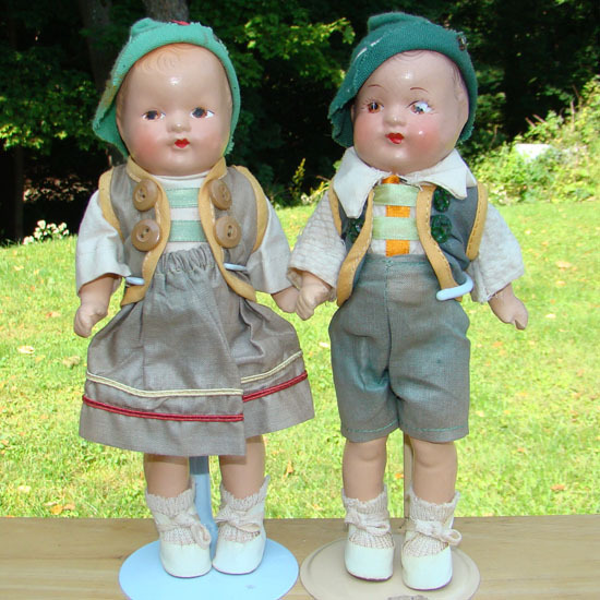 C1930 German Germany Composition Costume Doll Pair Frantz Museum